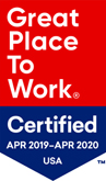 Great place to work, Certified APR 2019 - APR 2020 USA logo