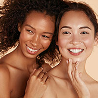 Picture of two women with hydrated skin